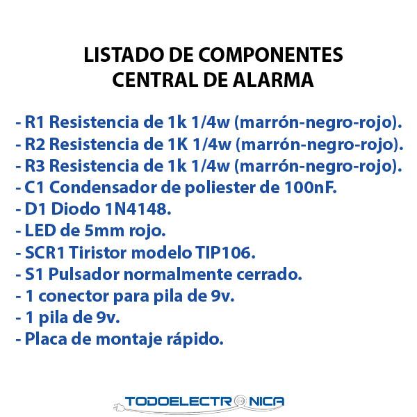 Componentes electrónicos necesarios para fabrican una central de alarma casera.