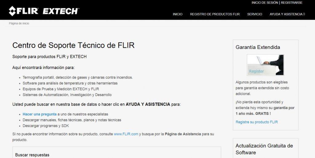 Imagen de la web de Atención al Cliente de FLIR.