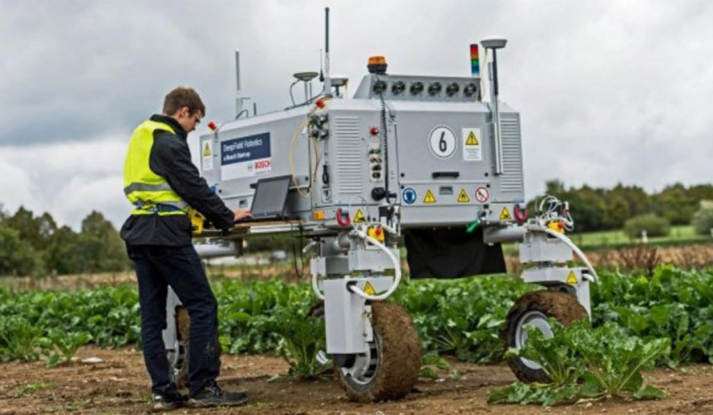 robot agrícola en viñedo